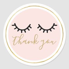Black Eyelashes Thank you Classic Round Sticker - blush pink gifts unique special diy custom Diy Stickers, Scrapbook Stickers, Round Stickers, Custom Stickers, Mink Eyelashes Wholesale, Lash Quotes, Business Thank You, Business Cards, Wedding Stickers