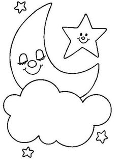 Moon Star And Cloud Template