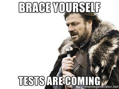 Brace yourself tests are coming - Winter is Coming   Meme Generator