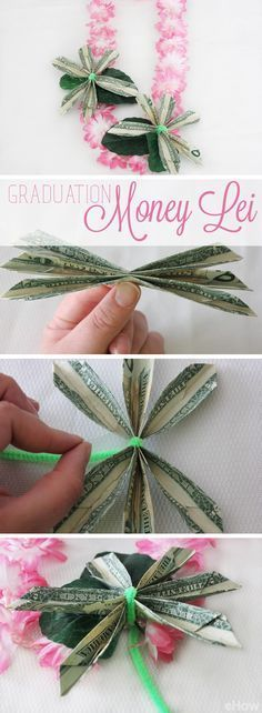 What a great way to celebrate the accomplishments of a student on their graduation! Every graduate needs one of these money leis. Learn how you can make this yourself with step by step pictures: /. Hawaian Party, Money Origami, Diy Money Lei, Origami Paper, Money Flowers, Folding Money, Graduation Leis, Money Trees, Graduation Gifts