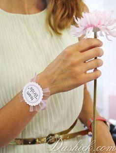Bridal Shower Wrist Bracelet LAVENDER, Lavender Wrist Corsage, Bachelorette Party Accessory, Hen Party, Wedding Party, Bridesmaid Gift