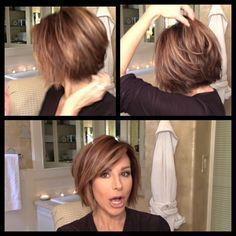 Dominique Sachse short bob with sideswept bangs #BangsHairstylesSideswept