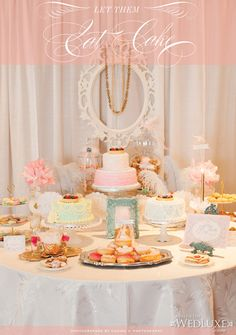 Parisian-inspired #bridal shower captured by Corina V. Photography #sweettable #cakes
