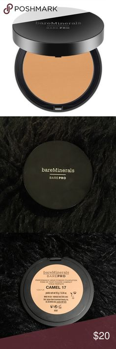 """bareMinerals barePRO Powder Foundation Camel 17 NEW bareMinerals barePRO performance wear Powder Foundation in color """"Camel 17."""" New without box. 0.34oz Includes application sponge inside.  Medium to full coverage. Naturally matte finish. A matte foundation that stays for 12 hours and doesn't clog pores or cause breakouts. For natural-looking glam coverage. bareMinerals Makeup Face Powder"""