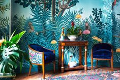 Wall Mural inspired by Henri Rousseau. I can't find anywhere online with the sloth. Handmade Wallpaper, Antique Wallpaper, Hand Painted Wallpaper, Chinoiserie Wallpaper, Painting Wallpaper, Scenic Wallpaper, Tropical Wallpaper, Luxury Wallpaper, Decor Interior Design