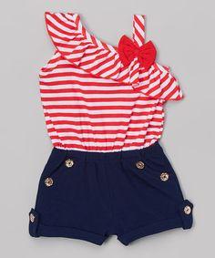 Look what I found on #zulily! Red & Navy Stripe Romper - Toddler & Girls #zulilyfinds