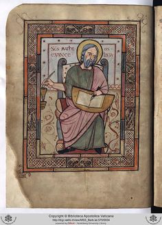 This English manuscript is likely to have been carried to the Continent soon after it was written in the second half of the eighth century. On folio the seated figure of St Matthew is depicted. Medieval Manuscript, Medieval Art, Renaissance Art, Illuminated Manuscript, Vatican Library, Saint Matthew, Book Of Kells, Book Of Hours, Anglo Saxon