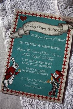 Alice in Wonderland Wedding Invitations (Printable) INSTANT DOWNLOAD