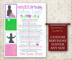 Birthday Poster with photos - no chalkboard;) https://www.etsy.com/listing/205468179/1st-birthday-poster-girls-birthday-idea?ref=shop_home_active_6