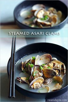 Steamed Asari Clams - clams, butter, sake, scallion. #seafood