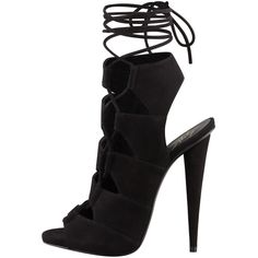 Giuseppe Zanotti Suede Side-Lace Ankle-Tie Sandal ($492) ❤ liked on Polyvore featuring shoes, sandals, heels, boots, giuseppe zanotti, wrap sandals, ankle wrap sandals, ankle tie sandals, ankle strap shoes and cut out sandals