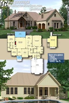 Architectural Designs Home Plan 830011DSR with 3 Bedrooms and 3 baths in 2,500+ Sq Ft. with a bonus over the garage, Ready when you are! Where do YOU want to build? #830011DSR #adhouseplans #architecturaldesigns #houseplans #architecture #newhome #newconstruction #newhouse #homedesign #homeplans #architecture #home #homesweethome #European #traditional