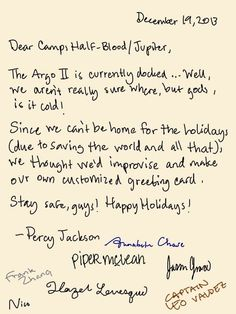 """The signatures are perfect, Jason's is all perfect and Leo's is huge and humorous and Piper is """"the perfect handwriting girl"""" and then Nico's just there"""