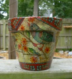 "Handmade Decoupage  Terra Cotta Clay Flower Pot 6"" Birds with Flowers"