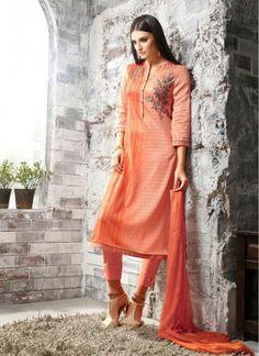 Peach Cotton Satin Digital Print Trendy Churidar Salwar Suit