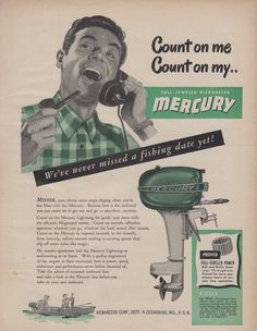 "1948 MERCURY ""LIGHTNING"" OUTBOARD MOTOR with MAGNA-PUL STARTER AD"