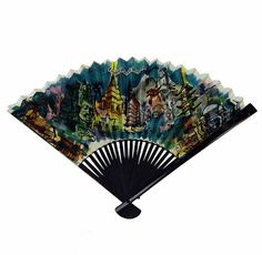 Collectible Vintage 1960s Watercolor Print Souvenir Hand Fan from Cathay Pacific Airlines.