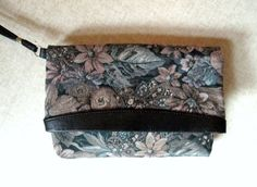 Foldover Clutch Bag wrist strap floral tapestry fabric purse