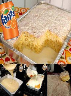 Ingredientes: 5 ovos 2 xícaras (chá) de açúcar 1 copo de refrigerante sabor laranja (Fanta®) 2 xícaras (chá) de farinha de trigo 1 colher (sopa) de fermento químico em pó 1 lata de leite condensado 1 vidro de leite de coco (pequeno) Modo de... Fruit Cookies, Portuguese Recipes, I Love Food, Fresh Fruit, Favors, Snack Recipes, Food And Drink, Pudding, Orange