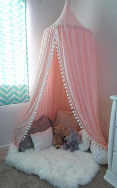 Pompom Play canopy in blush pink cotton / hanging tent/bed canopy/ hanging canop. - Pompom Play canopy in blush pink cotton / hanging tent/bed canopy/ hanging canopy - Teen Girl Bedrooms, Little Girl Rooms, Girls Bedroom Canopy, Little Girl Canopy Bed, Kids Canopy, Childs Bedroom, Canopy Tent, Princess Bedrooms, Teepee Tent
