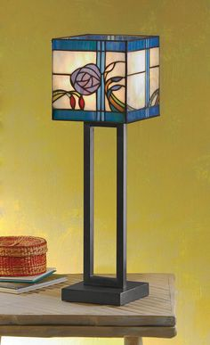 Blue Rose Stained Glass Lamp - Acacia Lifestyle
