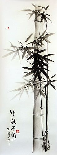 Charcoal Asian Bamboo Artwork - Mr. Wang's Charcoal Art Drawings - Chinese Artwork