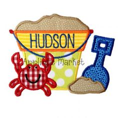 Bring in the season with Applique Market's great selection of special designs. Customized clothing with this beach bucket crab and sand applique design is the perfect gift to celebrate summer. Applique Patterns, Applique Designs, Embroidery Applique, Machine Embroidery Designs, Embroidery Ideas, Embroidery Fonts, Vinyl Monogram, Applique Monogram, Monogram Online