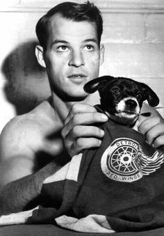 Gordie Howe and a very cute puppy :-)