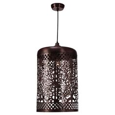Illuminate your entryway or hall with this ornate pendant, showcasing a stamped metal shade and an antique copper finish.  Product: ...