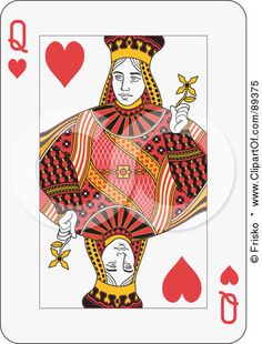 """playing card queen of hearts... good visual reference for the """"Playing Card Portraits"""" lesson"""