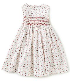 Edgehill Collection Little Girls 2T4T Rose Print Smock Dress #Dillards