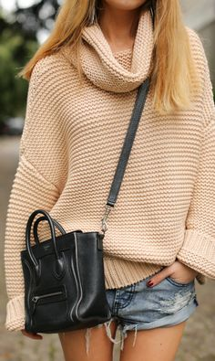 Cute cut-offs and a heavy, stylish sweater...this is in no way anything OTHER than a spring outfit!!