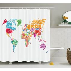 Wanderlust Decor World Map Made By Names Of The Countries Europe America Africa Asia Graphic Home Decor, Bathroom Accessories, X Inches Extra Long, By Ambesonne Bathroom Decor Sets, Bathroom Styling, Bathroom Accessories, Countries Europe, Curtain Store, European Home Decor, Best Kitchen Designs, Shower Curtain Sets, Downstairs Bathroom