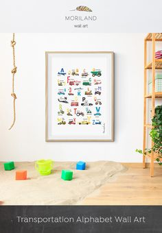 Alphabet Print, Transportation Alphabet Poster, Cars ABC Wall Art, Nursery Decor, Car Themed Room Wall Art, Construction Prints, Printable, Printable ABC Art, DIY Kids Wall Art, Playroom Wall Décor, Toddler Boy Room Ideas, Construction Wall Art, Transportation Print, Kids Room Decor, Plane, Fire Truck, Cement Mixer, Locomotive, Police Car By MORILAND Wall Art #Alphabet