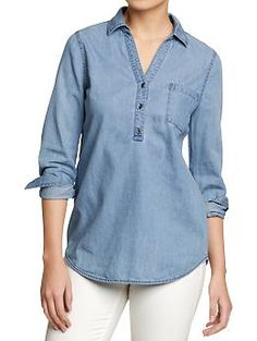 """Old Navy Womens Chambray Button Yoke Top- Buy it oversized for a more """"boyfriend look"""". Simple Kurti Designs, Kurti Neck Designs, Blouse Designs, Cute Blouses, Shirt Blouses, Chambray Shirts, Chambray Top, Men's Shirts, Look Camisa Jeans"""