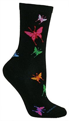 Butterflies Black Novelty Adult Socks by Wheel House Designs USA Made Wheel House Designs http://www.amazon.com/dp/B00LPW5O1C/ref=cm_sw_r_pi_dp_9-Y.vb0V2P3W1