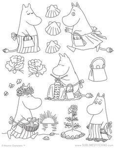 Awesome Most Popular Embroidery Patterns Ideas. Most Popular Embroidery Patterns Ideas. Embroidery Transfers, Hand Embroidery Patterns, Vintage Embroidery, Cross Stitch Embroidery, Machine Embroidery Designs, Simple Embroidery, Felt Embroidery, Tove Jansson, Colouring Pages