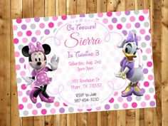 Minnie Mouse Birthday Party Invitation / Minnie Mouse Invite / Minnie Mouse and Daisy Duck / Party Invitation by ARDigiInvites on Etsy https://www.etsy.com/listing/478650783/minnie-mouse-birthday-party-invitation