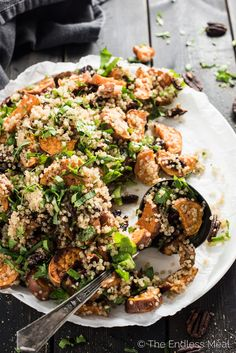 This delicious Autumn Quinoa Salad with warm baked sweet potatoes, toasted pecans, your choice of bitter greens, and then tossed in maple dijon dressing. It's an easy to make and healthy side dish recipe that is perfect for fall. | theendlessmeal.com