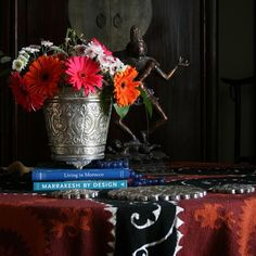 moroccan hammam bucket for fresh cut flowers, suzani - photo by apartmentf15©
