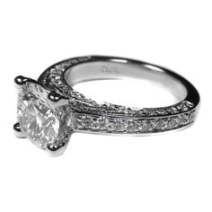 Engagement Ring - Vintage Pave Style Round Diamond Cathedral Engagement Ring 1.19 tcw. In 14K White Gold - ES144