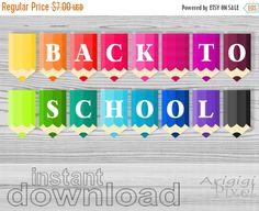 50 % OFF  SALE back to school printable banner by ArigigiPixel