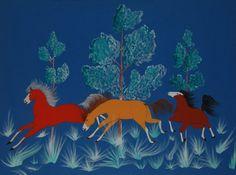 #adobegallery - Ohkay Owingeh Original Painting of Horses by Ascensión Trujillo (1933-1959) Poquin Tahn
