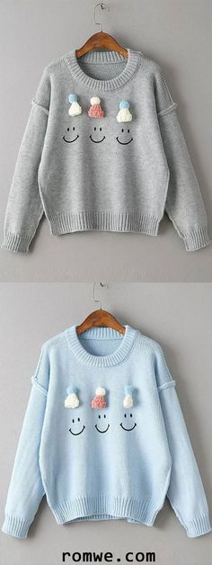 a6552484b Hat Embellished Drop Shoulder Cute Sweater Cute Christmas Sweater
