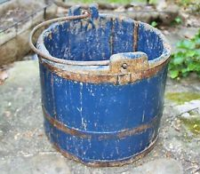 Primitive Wooden Blue Bucket With Wrought Iron Handle and Lots of Character