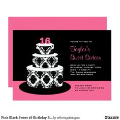 Sweet 16 Birthday Party Black White Cream Pearl Invites Cheap
