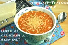 Creamy Tomato Soup (Vegan/Low Fat/Paleo/Low Sodium) - Foodie Fiasco- 41 cal per serving Soup Recipes, Whole Food Recipes, Diet Recipes, Vegan Recipes, Cooking Recipes, Recipies, Crockpot Recipes, Vegan Tomato Soup, Vegan Soups