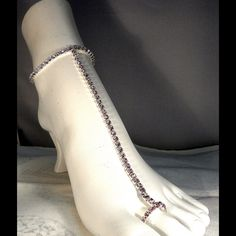 Delicate Rhinestone Foot jewelry Delicate Clear / Silver Rhinestone Lined Stretch  Foot Chain Jewelry