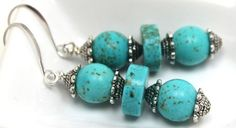 10mm turquoise beads and discs and Bali silver dangle earrings