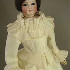 "Auction Alert - Antique Dimity 3pc Promenade Suit Dress for 18-20"" inch French Fashion Lady Doll - dress made by Carol H. Straus #silkandtrim"